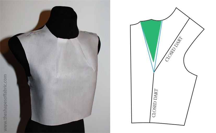 bodice with mid-neck darts