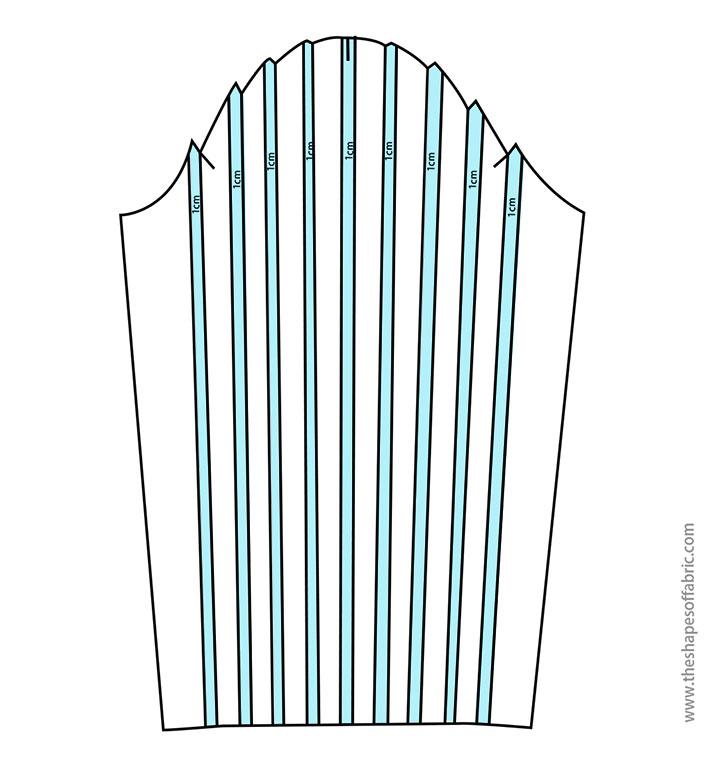 sleeve with tucks pattern