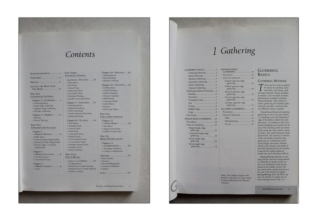 The Art of Manipulating Fabric, table of contents