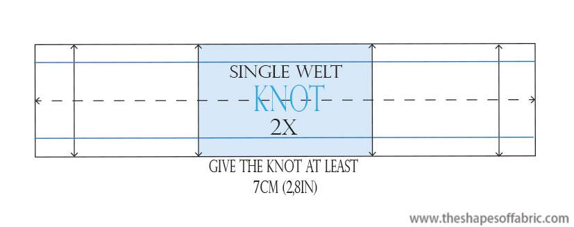 single welt pocket with a knot -pattern
