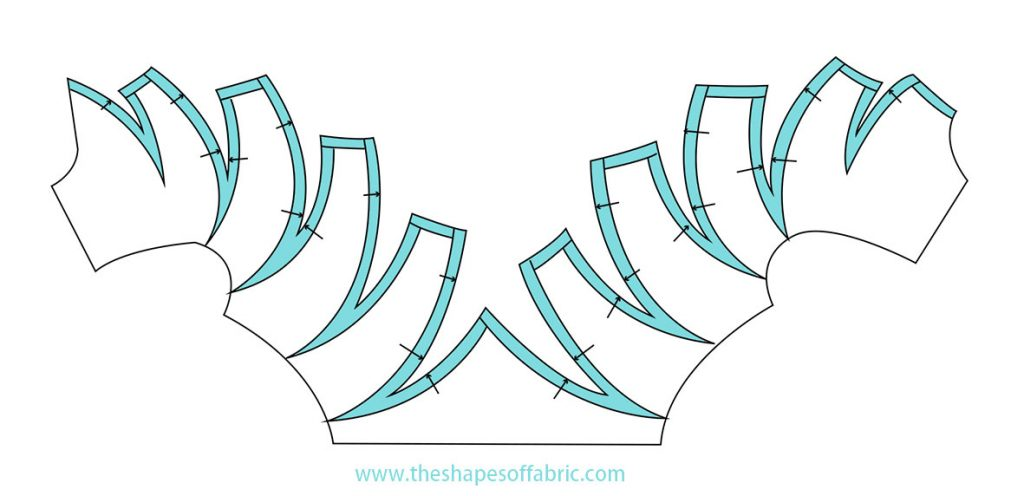 Pattern for origami bamboo bodice with curved lines