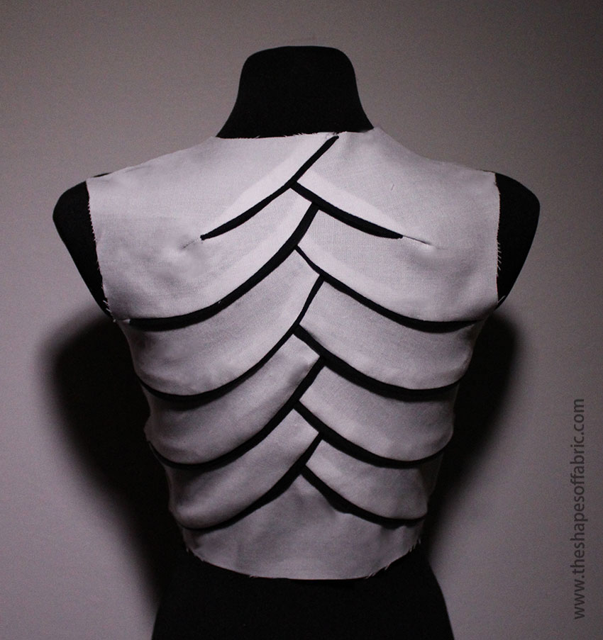 Origami bamboo bodice with curved seams