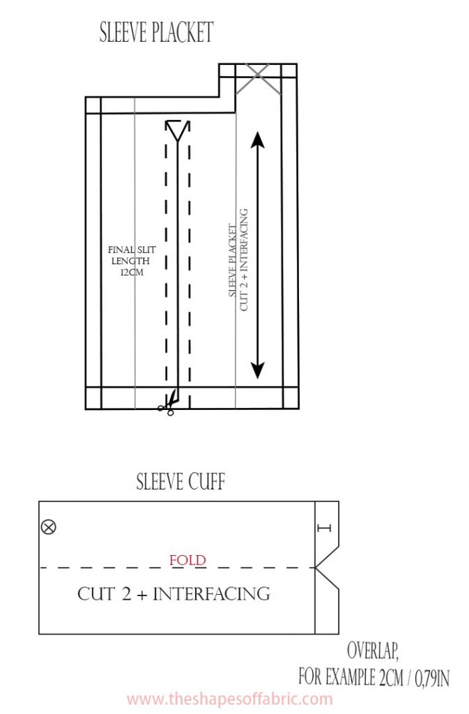 sleeve placket and cuff patterns