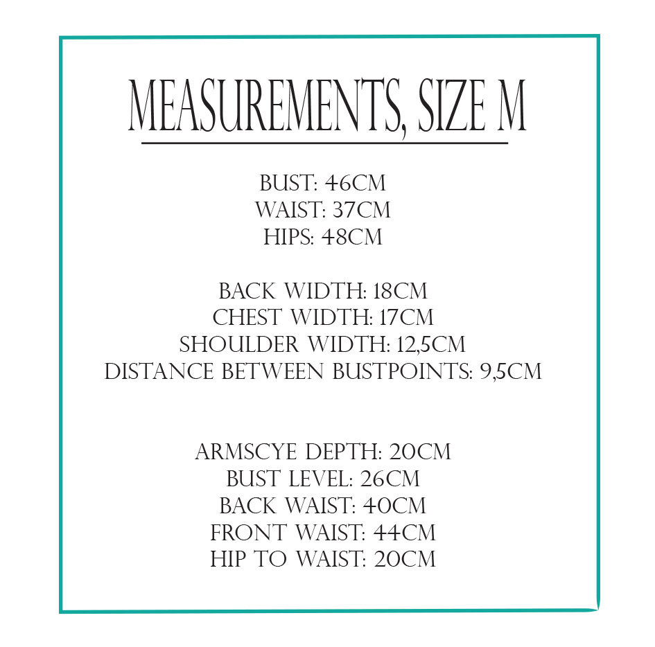 Size M measurements for pattern drafting