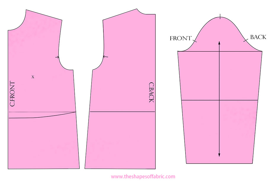 complete dartless bodice pattern pieces